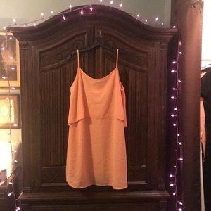 Sheer Peach Spaghetti Strap Dress